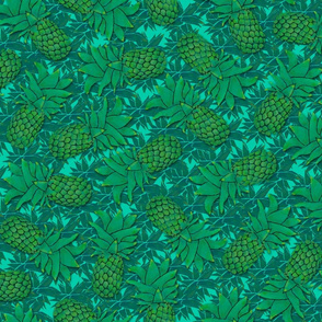 Pineapples on mint blue