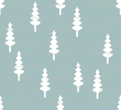 trees on dusty blue