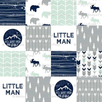 Little Man Adventure Wholecloth     Northern lights patchwork