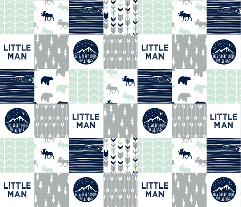 Little Man Adventure Wholecloth     Northern lights patchwork  fabric by littlearrowdesign on Spoonflower - custom fabric