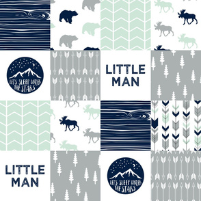 Little Man Adventure Wholecloth  || Northern lights patchwork