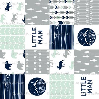 Little Man Adventure Wholecloth  || Northern lights patchwork (90)