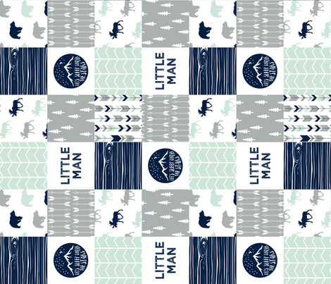 Little Man Adventure Wholecloth  || Northern lights patchwork (90) fabric by littlearrowdesign on Spoonflower - custom fabric