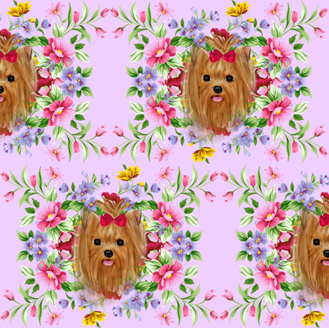 Summer yorkie fabric by barbyyy on Spoonflower - custom fabric