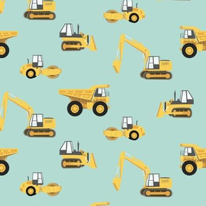 construction trucks - yellow on dark mint