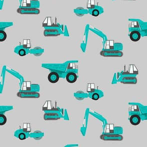 construction trucks - green on grey