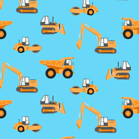 Construction trucks orange on blue fabric for Little blue truck fabric