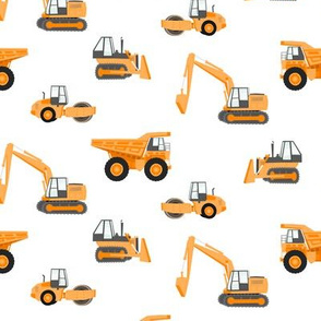 construction trucks - orange on white
