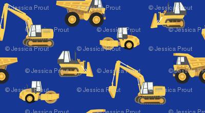 construction trucks - yellow on royal