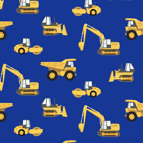 construction trucks - yellow on royal fabric by littlearrowdesign on Spoonflower - custom fabric