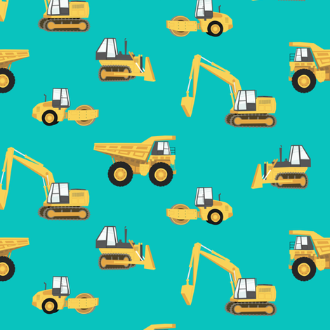 construction trucks - yellow on green fabric by littlearrowdesign on Spoonflower - custom fabric