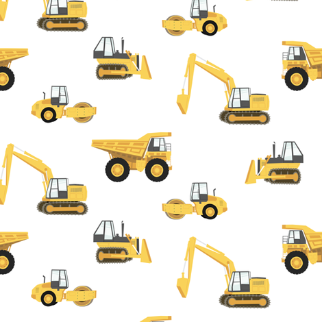 construction trucks - yellow on white fabric by littlearrowdesign on Spoonflower - custom fabric