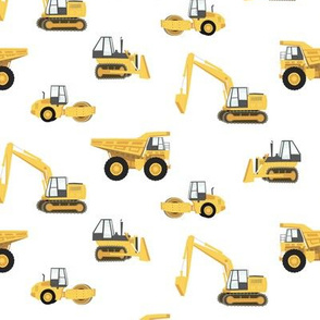 construction trucks - yellow on white