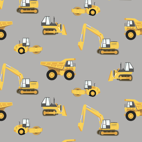 construction trucks - yellow on grey fabric by littlearrowdesign on Spoonflower - custom fabric