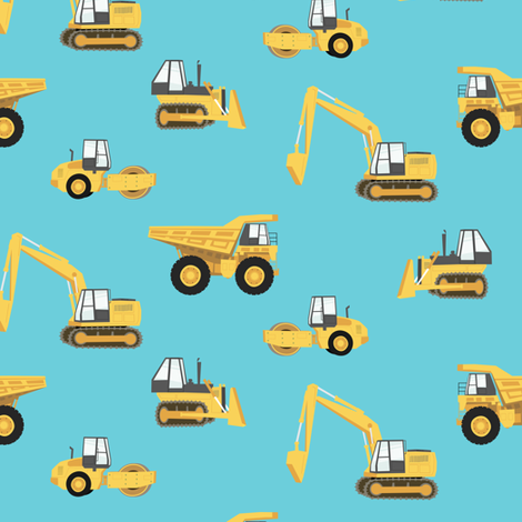 construction trucks - yellow on blue fabric by littlearrowdesign on Spoonflower - custom fabric