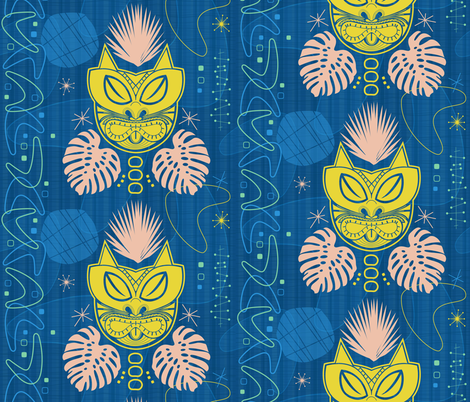 Retro Tiki Cat fabric by xoxotique on Spoonflower - custom fabric