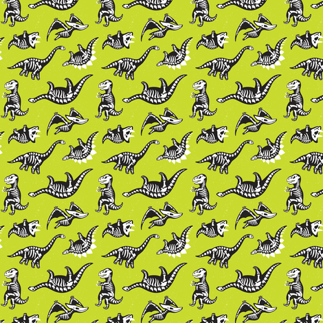 Lime Green Dinos  fabric by penguinhouse on Spoonflower - custom fabric