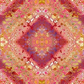 THE THOUSAND AND ONE NIGHTS persian damask tapestry CORAL BURGUNDY GREEN