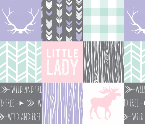 Little Lady Wholecloth Quilt - Dark grey, mint, pink, lavender fabric by sugarpinedesign on Spoonflower - custom fabric
