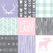 Little Lady Wholecloth Quilt - Dark grey, mint, pink, lavender