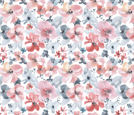 Watercolor Light Flowers fabric by graphicsdish on Spoonflower - custom fabric