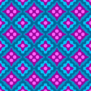 tribal diamonds - bohemian purple and turquoise