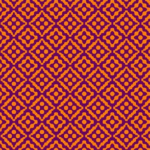 small tribal diamonds - india orange and dark purple