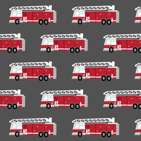 fire trucks - dark red fabric by littlearrowdesign on Spoonflower - custom fabric