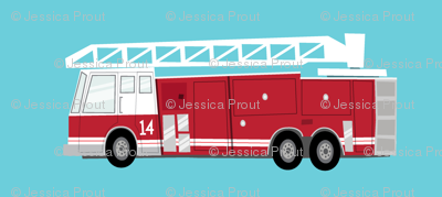 fire trucks - dark red on blue