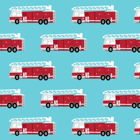Fire trucks dark red on blue fabric littlearrowdesign for Little blue truck fabric