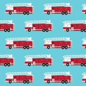 fire trucks - dark red on blue
