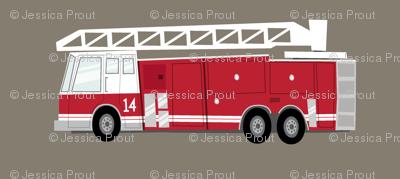 fire truck - dark red on brown