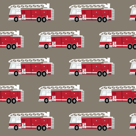 fire truck - dark red on brown fabric by littlearrowdesign on Spoonflower - custom fabric