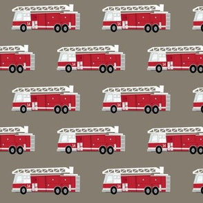 fire truck - dark red on brown