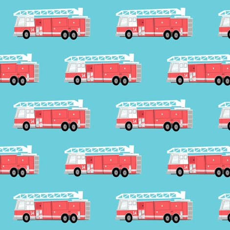 Fire truck on blue fabric littlearrowdesign spoonflower for Little blue truck fabric