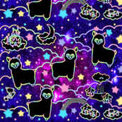 10 llamas alpacas stars rainbows clouds trees ponds lakes teddy bears shooting cats sky skies purple galaxy violet galaxies nebulae universe violet galaxies nebulae universe night cosmic cosmos planets supernova quasars sanrio inspired little twin stars