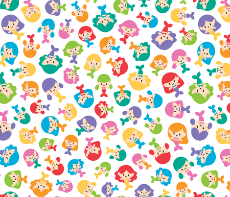Colorful mermaids fabric by petitspixels on Spoonflower - custom fabric