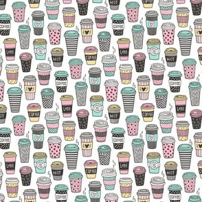 Coffee Latte Geometric Patterned Black & White Pink Mint Yellow on White Small