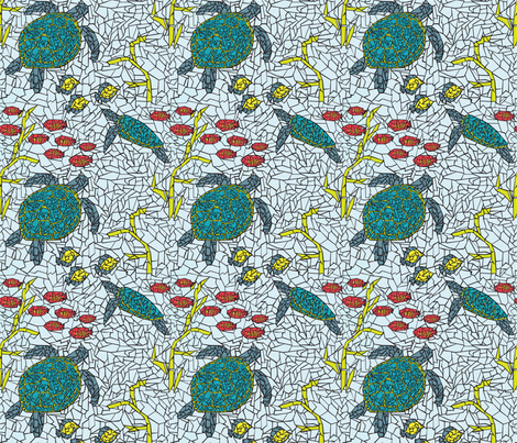 Sea Turtles + Tropical Fish Mosaic fabric by whyitsme_design on Spoonflower - custom fabric