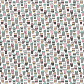 Coffee Latte Geometric Patterned Black & White Pink Mint Yellow on White Tiny Small