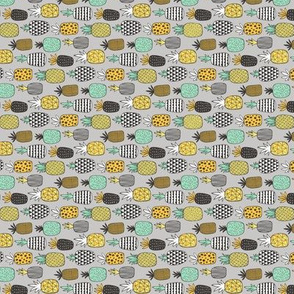 Pineapple Geometric on Grey Tiny Small Rotated