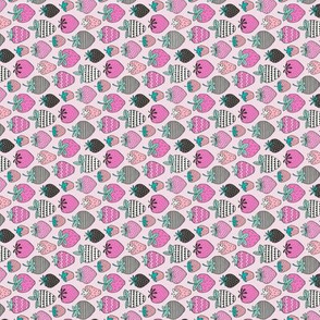 Strawberries Strawberry Geometric in Pink Tiny Small Rotated