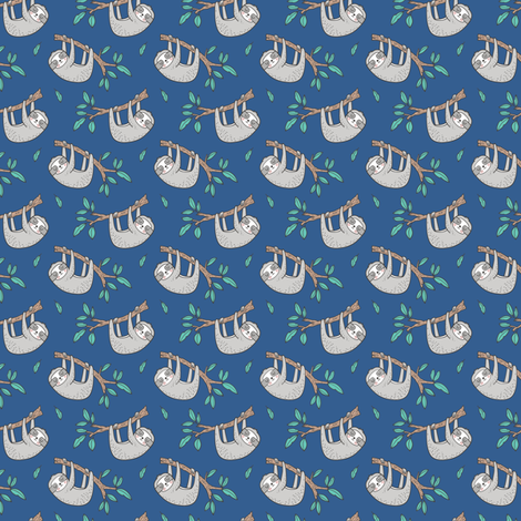 Sloth Sloths on Tree Branch with Leaves on Blue Tiny Small fabric by caja_design on Spoonflower - custom fabric