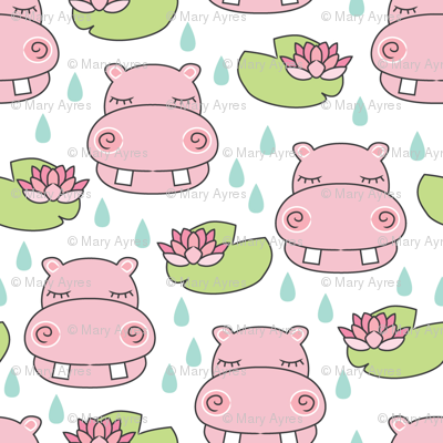 pink hippos-and-water-lilies