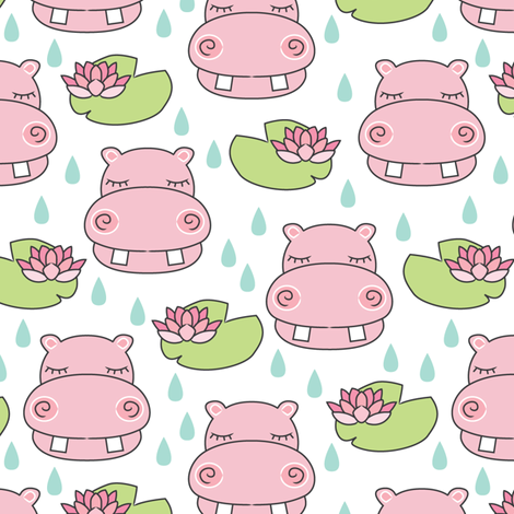 pink hippos-and-water-lilies fabric by lilcubby on Spoonflower - custom fabric