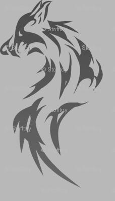black wolf on gray