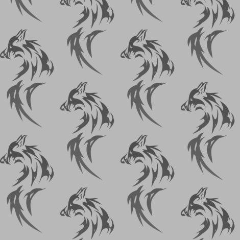 black wolf on gray fabric by stofftoy on Spoonflower - custom fabric