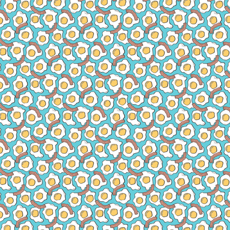 Eggs and Bacon Egg Food Breakfast on  Blue Tiny Small Rotated fabric by caja_design on Spoonflower - custom fabric