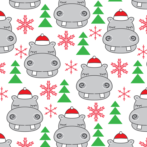 christmas hippos-with-santa-hats fabric by lilcubby on Spoonflower - custom fabric