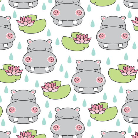 grey hippos and water lilies fabric by lilcubby on Spoonflower - custom fabric
